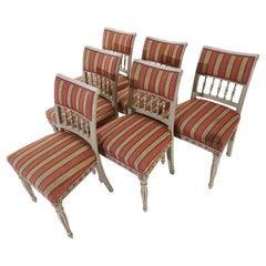 Beautiful Set of 6 Period Gustavian Era Dining Chairs