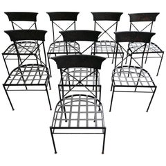 Beautiful Set of 8 Painted Tole and Metal Dining Chairs