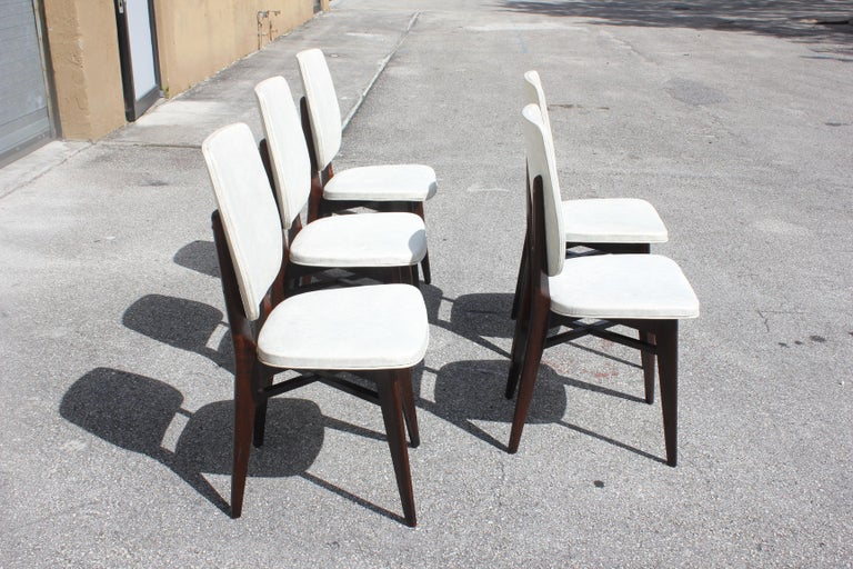 Beautiful Set of Five French Art Deco Solid Mahogany Dining Chairs, circa 1940s For Sale 5
