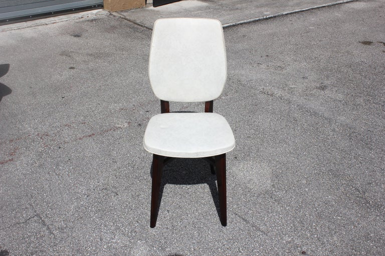 Beautiful Set of Five French Art Deco Solid Mahogany Dining Chairs, circa 1940s For Sale 6