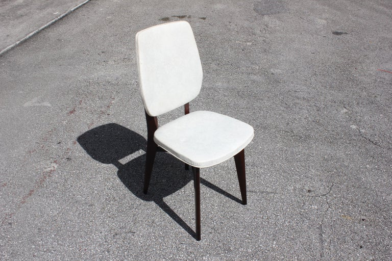 Beautiful Set of Five French Art Deco Solid Mahogany Dining Chairs, circa 1940s For Sale 7
