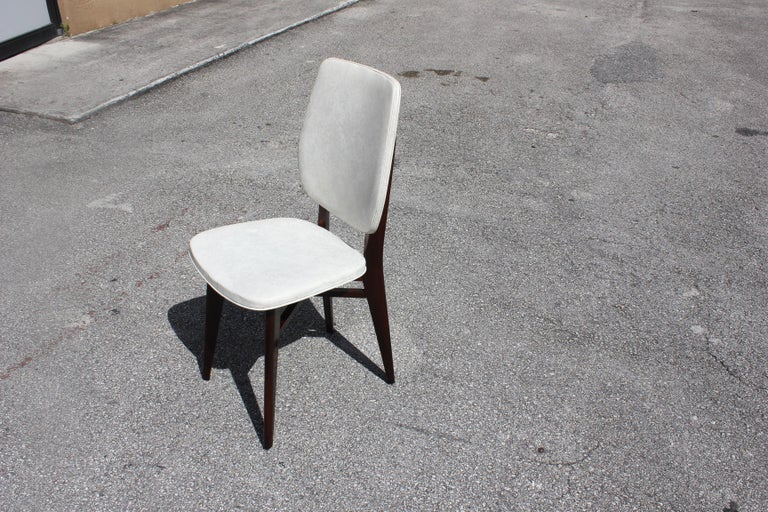 Beautiful Set of Five French Art Deco Solid Mahogany Dining Chairs, circa 1940s For Sale 9