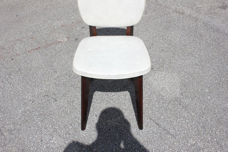 Beautiful Set of Five French Art Deco Solid Mahogany Dining Chairs, circa 1940s For Sale 10