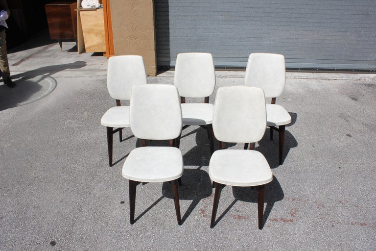 Beautiful Set of Five French Art Deco Solid Mahogany Dining Chairs, circa 1940s For Sale 12