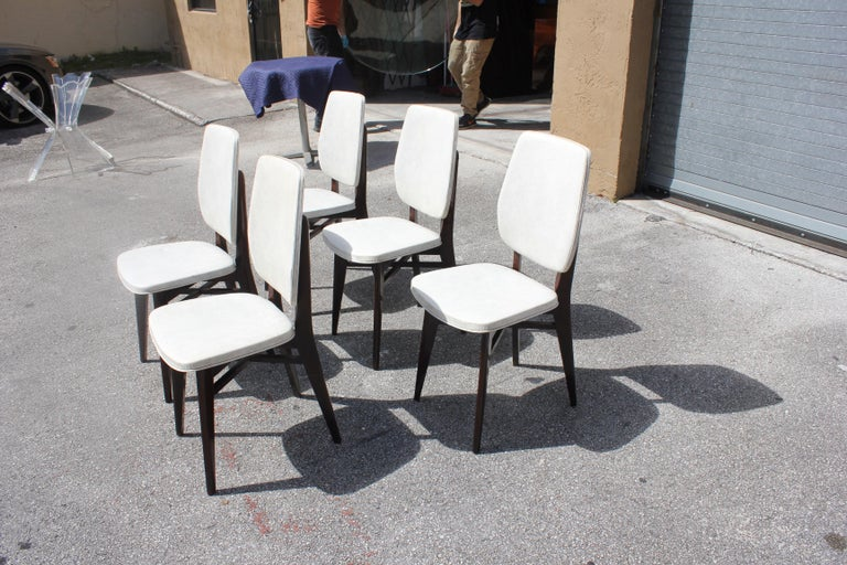 Mid-20th Century Beautiful Set of Five French Art Deco Solid Mahogany Dining Chairs, circa 1940s For Sale