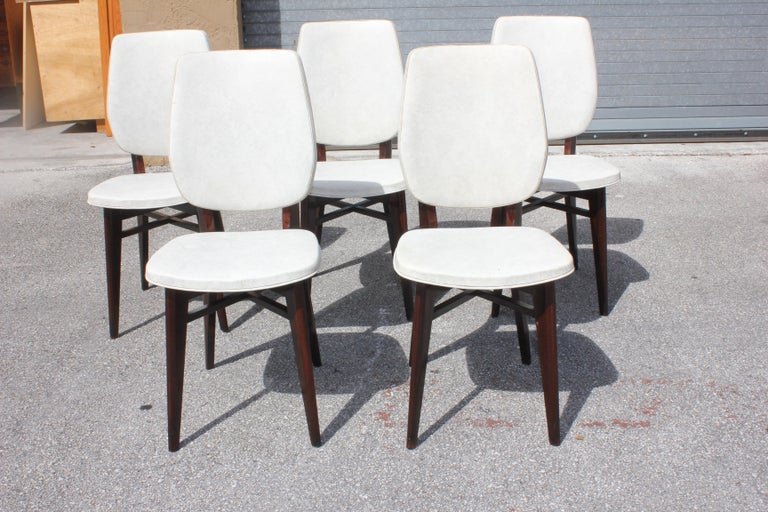 Fabric Beautiful Set of Five French Art Deco Solid Mahogany Dining Chairs, circa 1940s For Sale