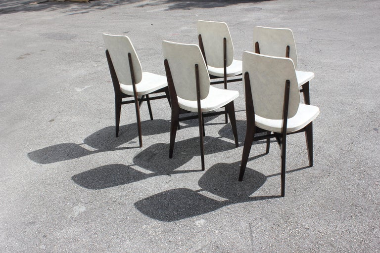 Beautiful Set of Five French Art Deco Solid Mahogany Dining Chairs, circa 1940s For Sale 2