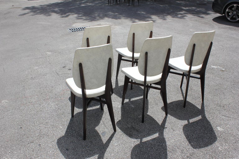 Beautiful Set of Five French Art Deco Solid Mahogany Dining Chairs, circa 1940s For Sale 3