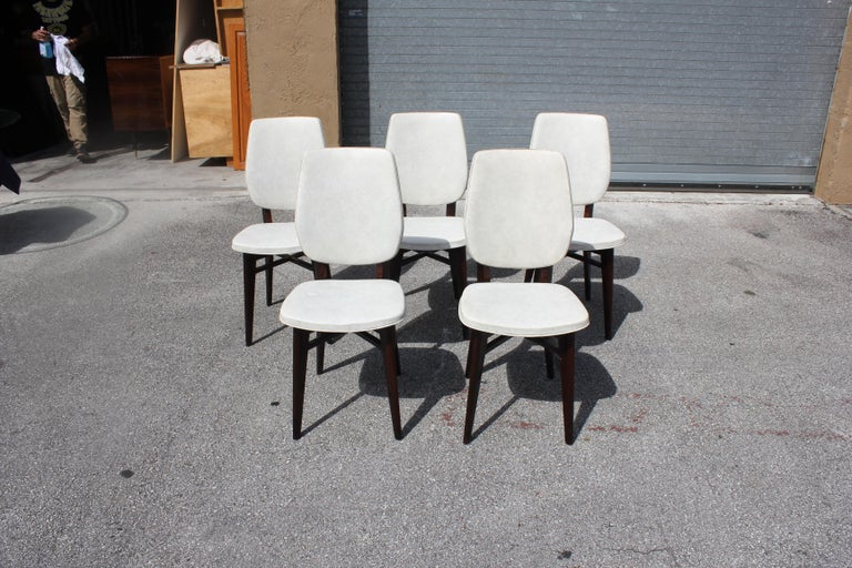 Beautiful Set of Five French Art Deco Solid Mahogany Dining Chairs, circa 1940s For Sale 4