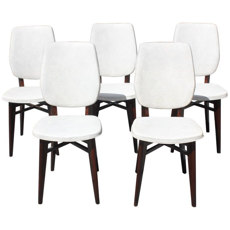 Beautiful Set of Five French Art Deco Solid Mahogany Dining Chairs, circa 1940s For Sale