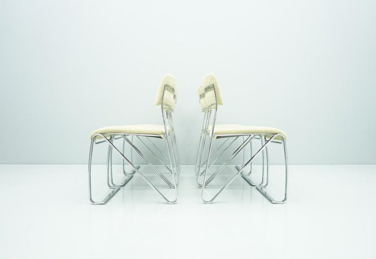 Beautiful Set of Six Dining Chairs in Chrome and Velvet, Italy, 1970s For Sale 6
