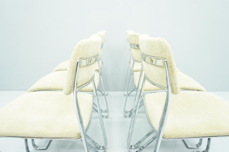 Beautiful Set of Six Dining Chairs in Chrome and Velvet, Italy, 1970s For Sale 7