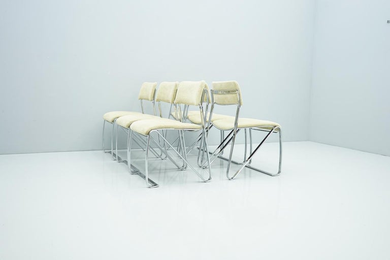 Beautiful Set of Six Dining Chairs in Chrome and Velvet, Italy, 1970s For Sale 8