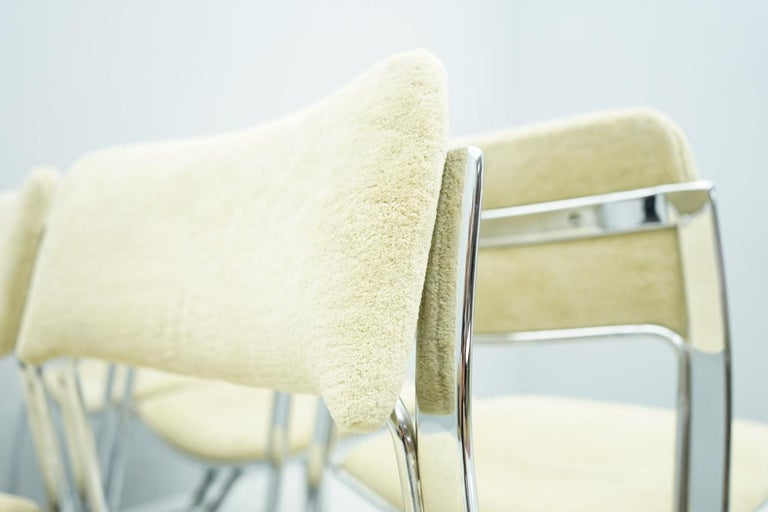 Beautiful Set of Six Dining Chairs in Chrome and Velvet, Italy, 1970s For Sale 10