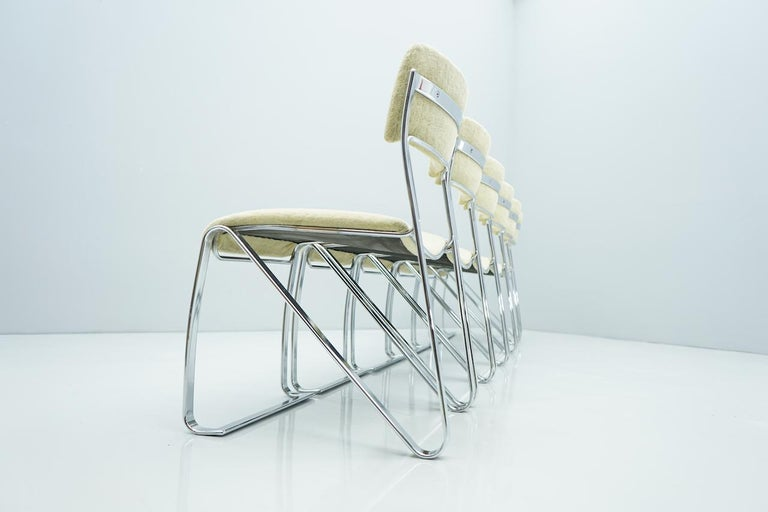 Great set of six Italian dining room chairs in chrome and velvet. Good to very good condition.