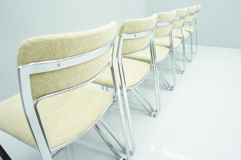 Late 20th Century Beautiful Set of Six Dining Chairs in Chrome and Velvet, Italy, 1970s For Sale