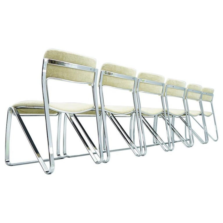 Beautiful Set of Six Dining Chairs in Chrome and Velvet, Italy, 1970s For Sale