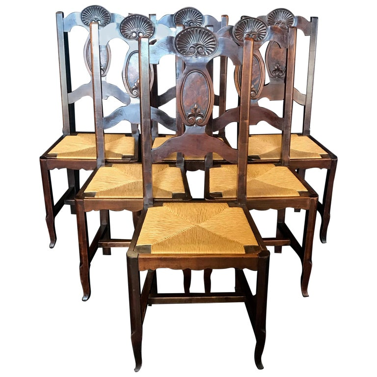 Beautiful Set of Six French Country Carved Walnut and Rush Dining Chairs For Sale