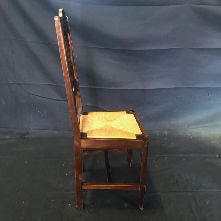 Beautiful Set of Six French Country Carved Walnut and Rush Dining Chairs For Sale 5