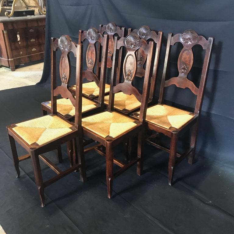 Stunning set of six antique Arts & Crafts or French Country Provincial carved walnut dining chairs with rush seats, all in good condition. Stunning carved shell over an inset burled wood panel, with carved acanthus leaf beneath on back splat.
