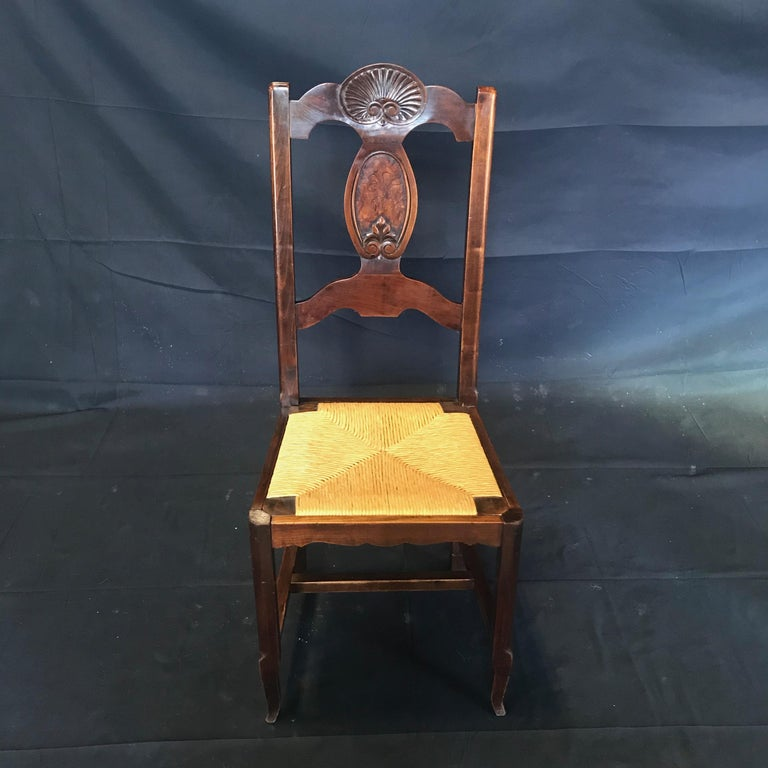 French Provincial Beautiful Set of Six French Country Carved Walnut and Rush Dining Chairs For Sale