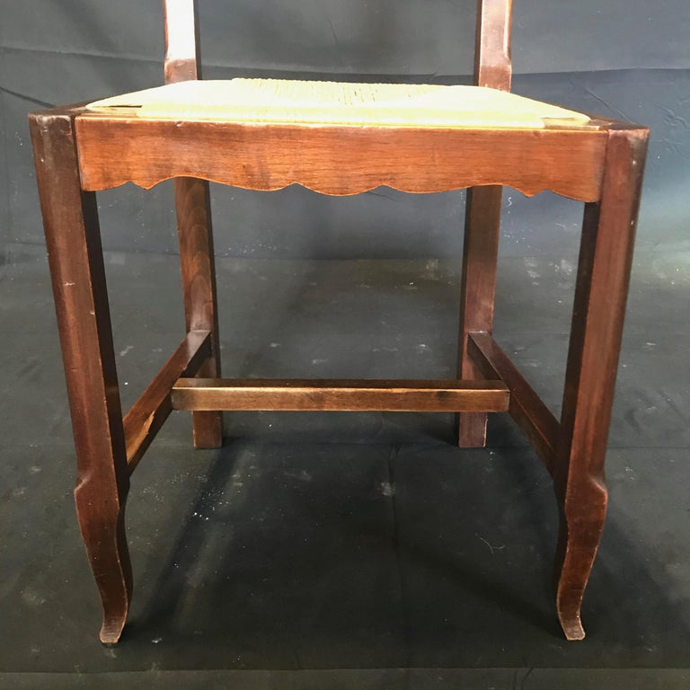 Beautiful Set of Six French Country Carved Walnut and Rush Dining Chairs For Sale 1