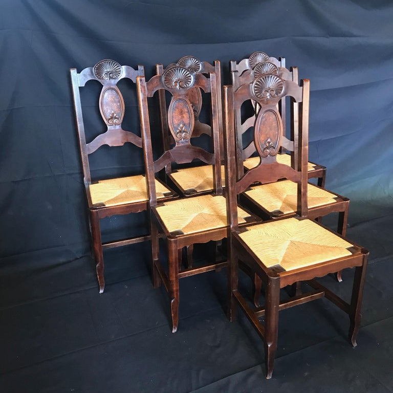 Beautiful Set of Six French Country Carved Walnut and Rush Dining Chairs For Sale 2