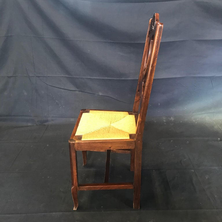 Beautiful Set of Six French Country Carved Walnut and Rush Dining Chairs For Sale 3