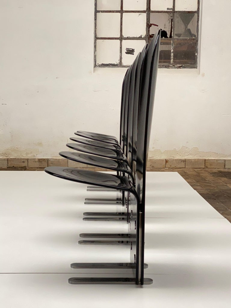 Beautiful Set of Six 'Pellicano' Chairs by Luigi Saccardo, Published Casa Vogue For Sale 1