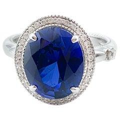 Beautiful Shade of Blue 3.16 Carat CZ Silver Ring
