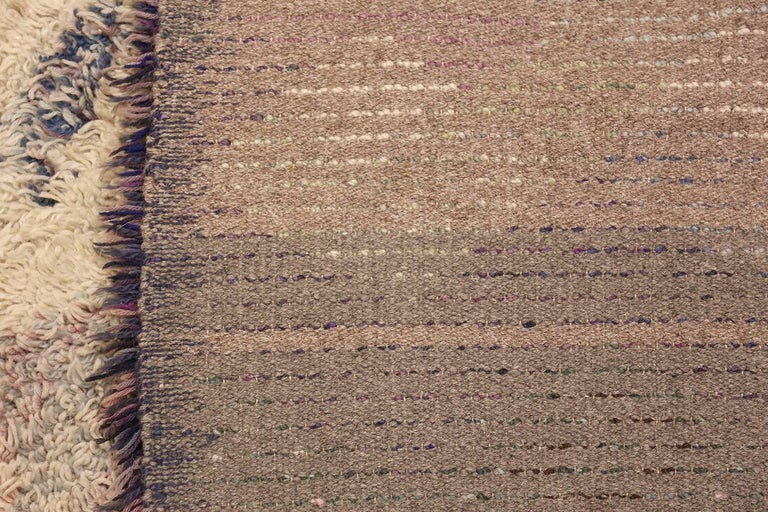 Hand-Knotted Beautiful Shag Vintage Swedish Rya Rug. Size: 6 ft 5 in x 7 ft 6 in