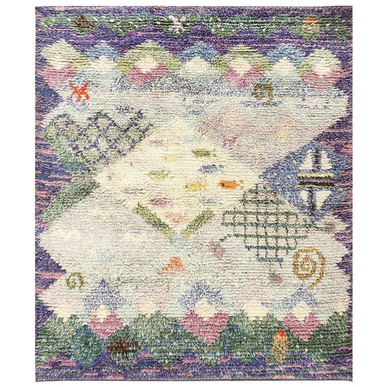 Beautiful Shag Vintage Swedish Rya Rug. Size: 6 ft 5 in x 7 ft 6 in
