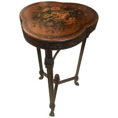 Theodore Alexander Shamrock Shaped End Table with Floral Decoration