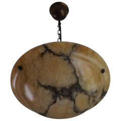 Beautiful Shape, Amber Color with Black Veins Alabaster Art Deco Pendant Light