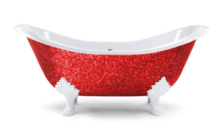 Italian Beautiful  Bathtub Decorated Handmade with Artistic Mosaic For Sale