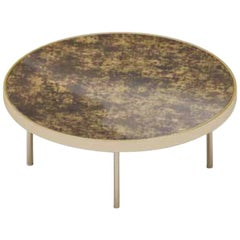 Beautiful Coffee Table in Polished Gold Finish Top Vetrite Marble Effect