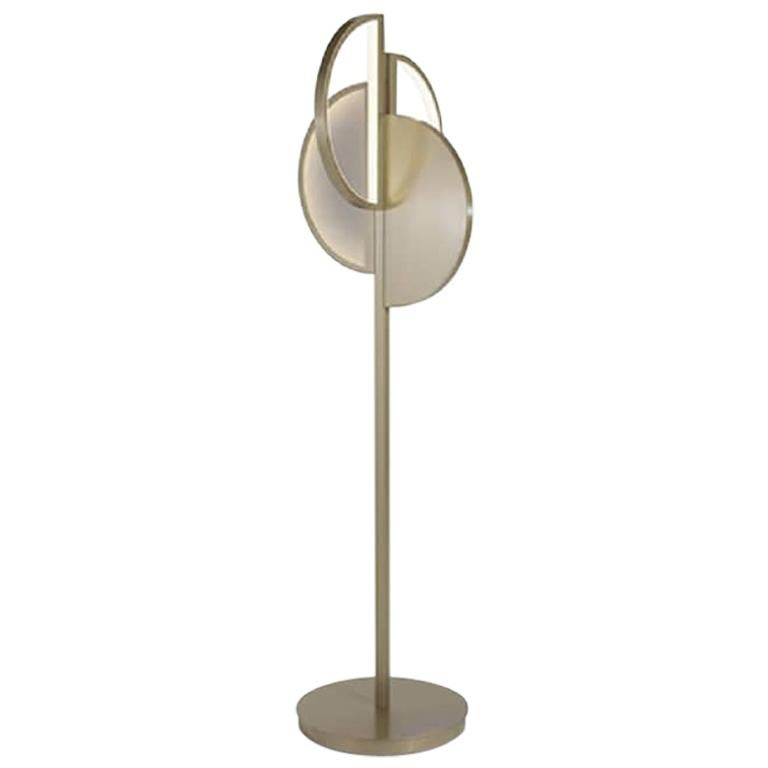 Beautiful Floor Lamp Brass Frame Champagne or Nichel Finish Vetrite Insert