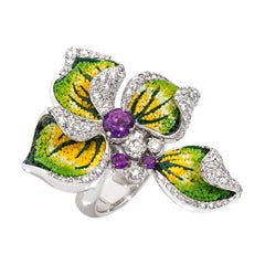 Beautiful Sicis Iris Ring White Diamonds Amethyst White Gold Micromosaic