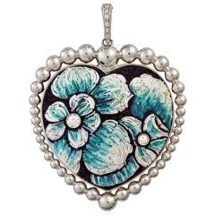 Beautiful Sicis Pendant White Gold White Diamonds Decorative Flowers Micromosaic