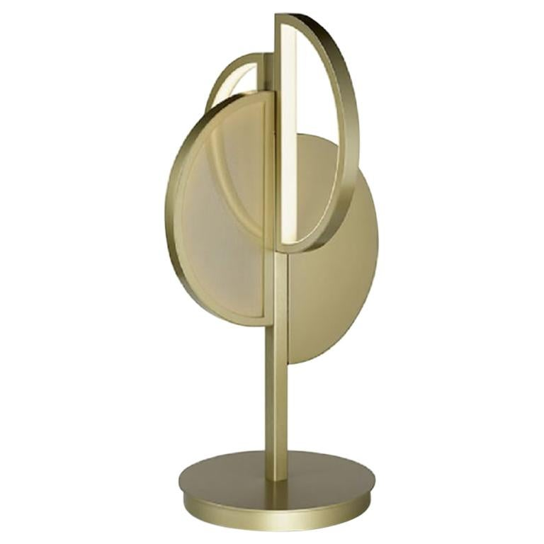 Beautiful Table Lamp Brass Frame Champagne or Nichel Finish Vetrite Insert For Sale