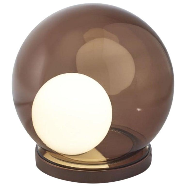 Stylish Table Lamp Bronzed Metal Frame Decorative White Matt sphere Inside For Sale