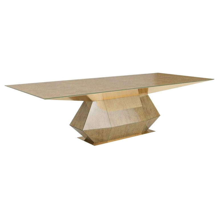 Beautiful Table with Metal Frame, Clad in Vetrite Pergamino Gold For Sale