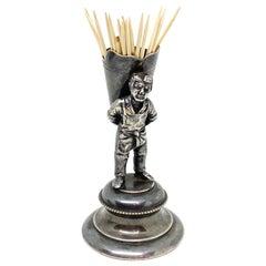 Beautiful Silver Plated Toothpick Holder Figurine Vintage, Austria, 1890s