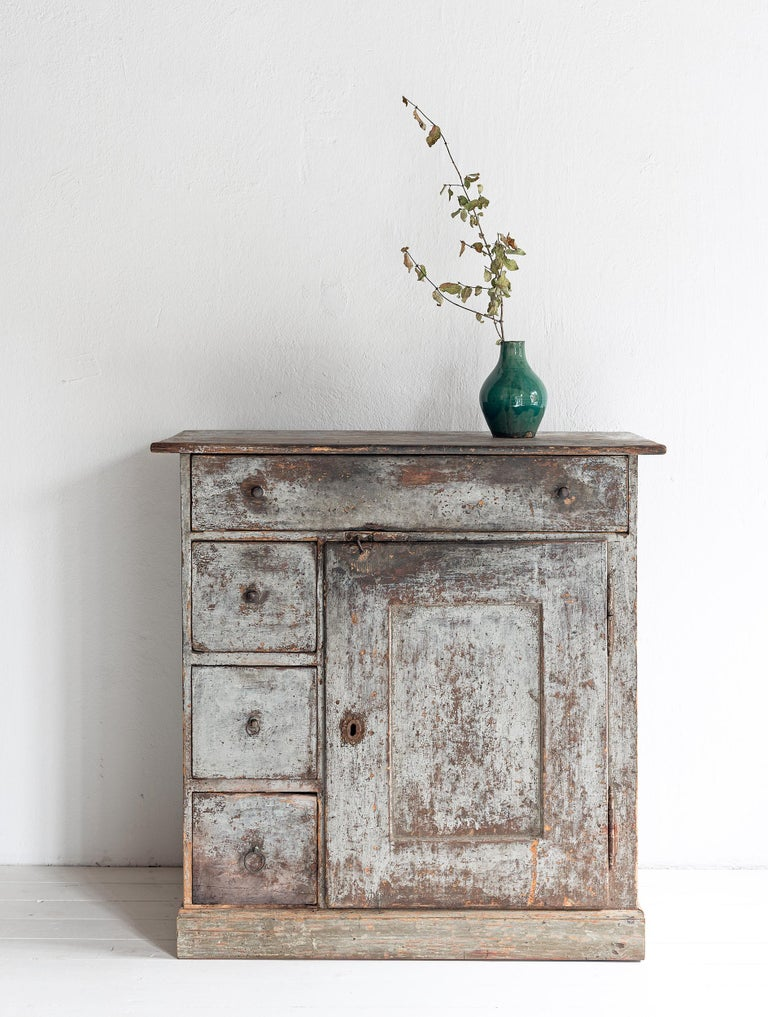 Beautiful simple Swedish 19th century cabinet in untouched original paint. Perfection.