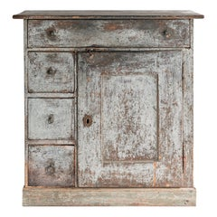 Beautiful Simple Swedish Early 19th Century Cabinet in Original Paint