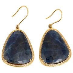 Beautiful Sliced Sapphire Diamond Gold Earrings