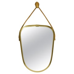 Beautiful Small Mid Century Brass Wall Mirror with a Woven Rope for Hanging