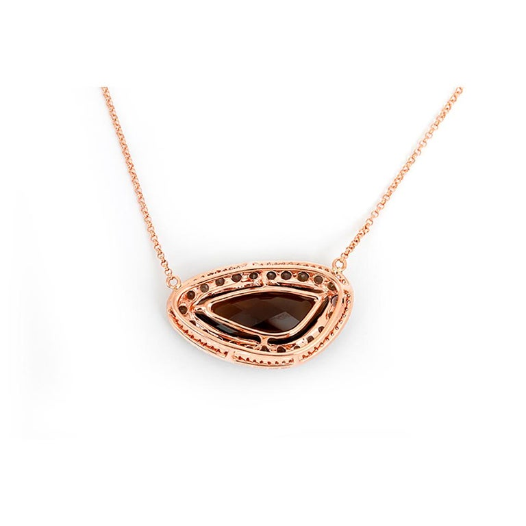 Beautiful Smoky Quartz Diamond Rose Gold Necklace For Sale 1
