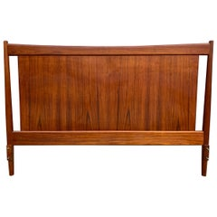 Beautiful Solid Teak Danish Mid-Century Modern Full Headboard Bedframe