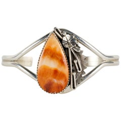 Beautiful Spiny Oyster and Sterling Bracelet